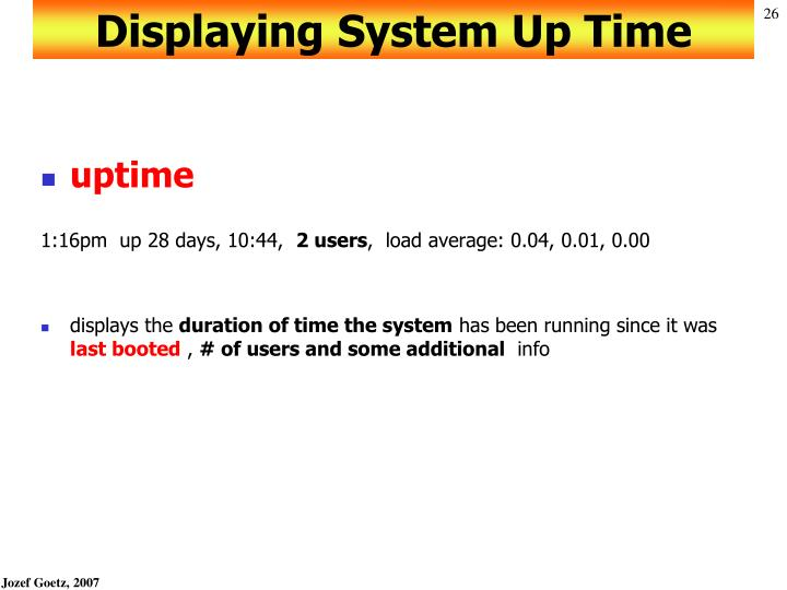 Displaying System Up Time