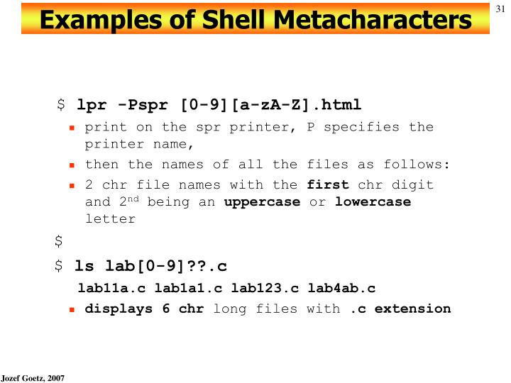 Examples of Shell Metacharacters