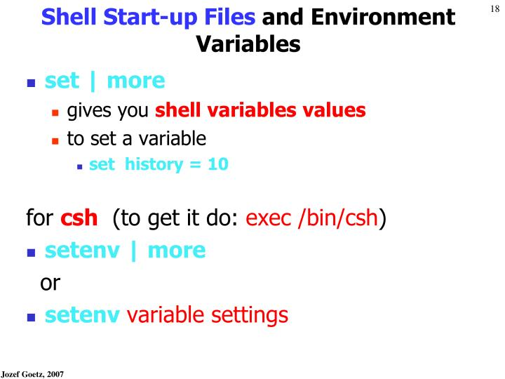 Shell Start-up Files