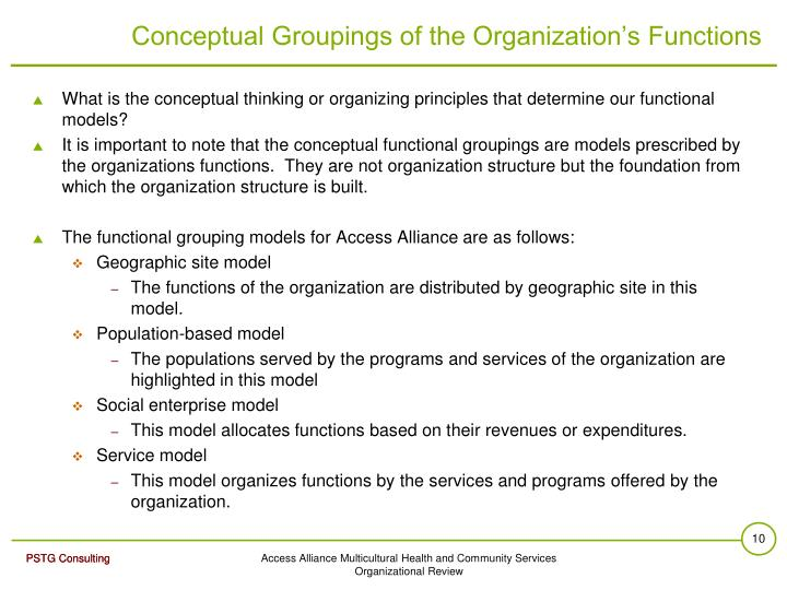 Conceptual Groupings of the Organization's Functions