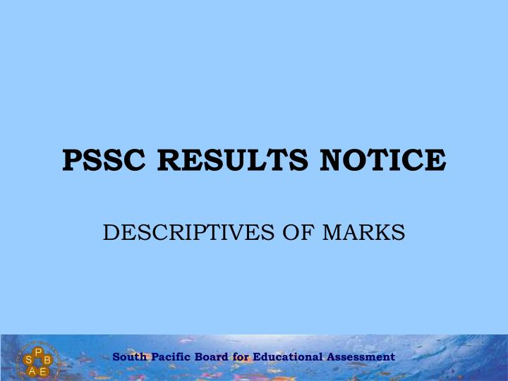 Pssc results notice