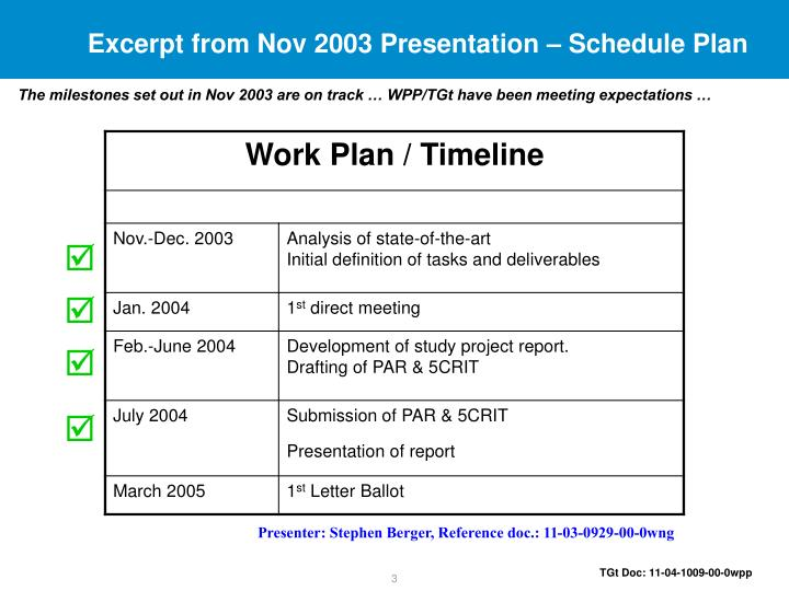 Excerpt from Nov 2003 Presentation – Schedule Plan