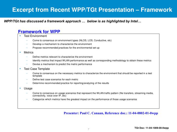 Excerpt from Recent WPP/TGt Presentation – Framework