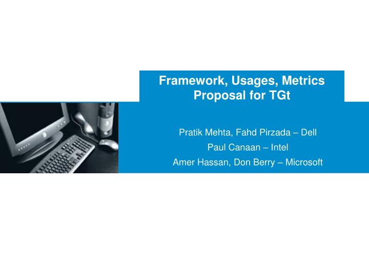 Framework usages metrics proposal for tgt