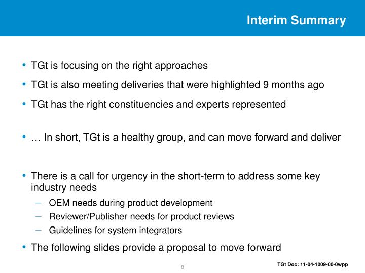 Interim Summary