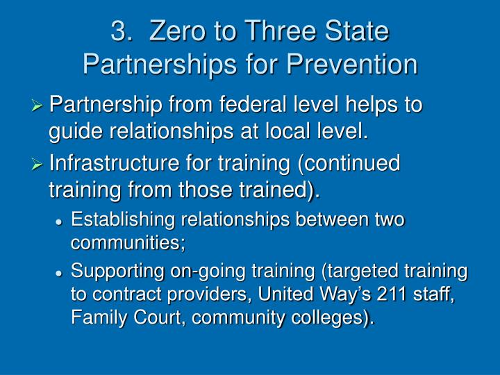3.  Zero to Three State Partnerships for Prevention