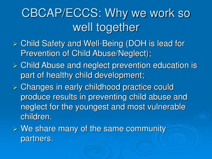 CBCAP/ECCS: Why we work so well together