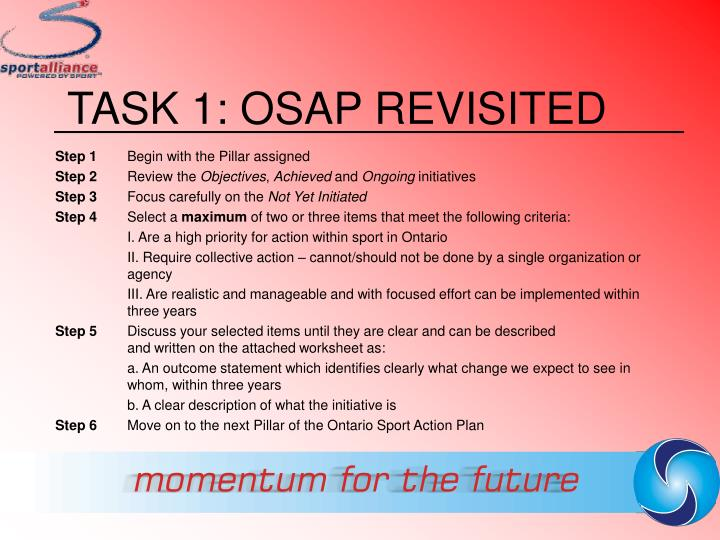 TASK 1: OSAP REVISITED