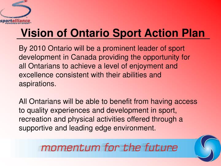 Vision of Ontario Sport Action Plan