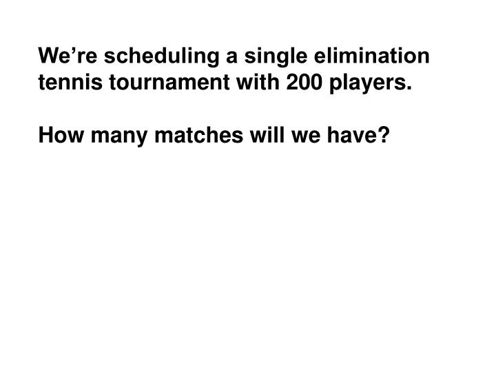 We're scheduling a single elimination tennis tournament with 200 players.