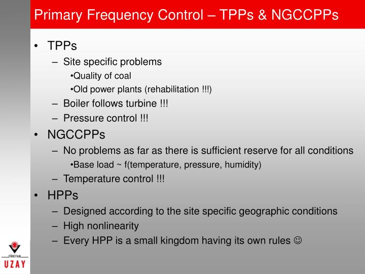 Primary Frequency Control – TPPs & NGCCPPs