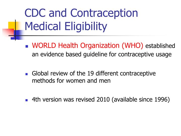 CDC and Contraception Medical Eligibility