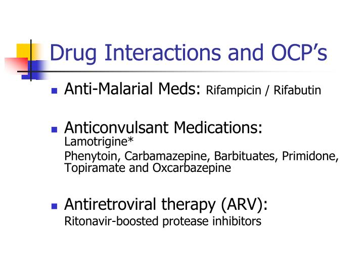 Drug Interactions and OCP's