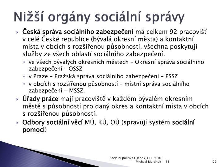 Nižší orgány sociální správy