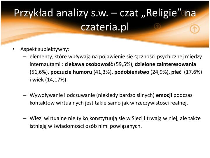 """Przykład analizy s.w. – czat """"Religie"""" na czateria.pl"""