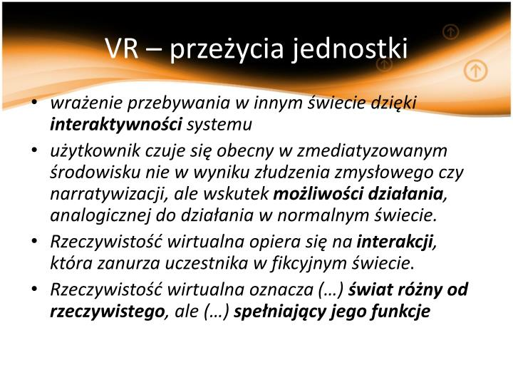 VR – przeżycia jednostki
