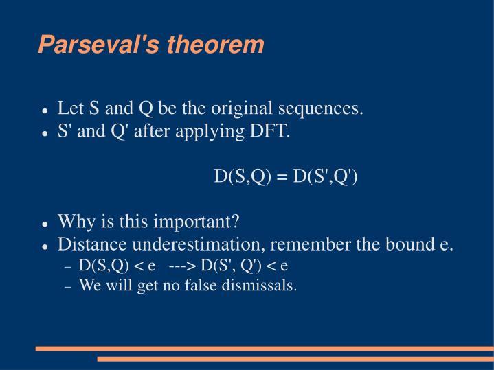 Parseval's theorem