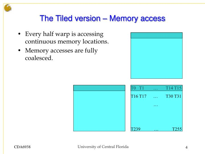 The Tiled version – Memory access
