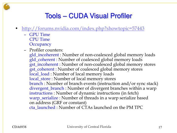 Tools – CUDA Visual Profiler