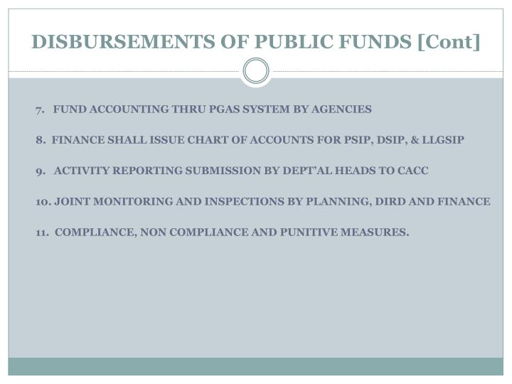 DISBURSEMENTS OF PUBLIC FUNDS [Cont]