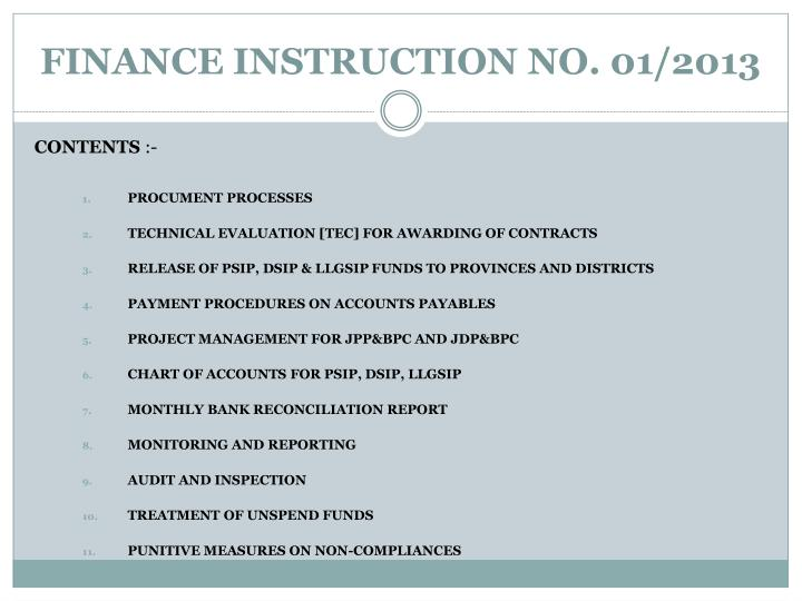 FINANCE INSTRUCTION NO. 01/2013
