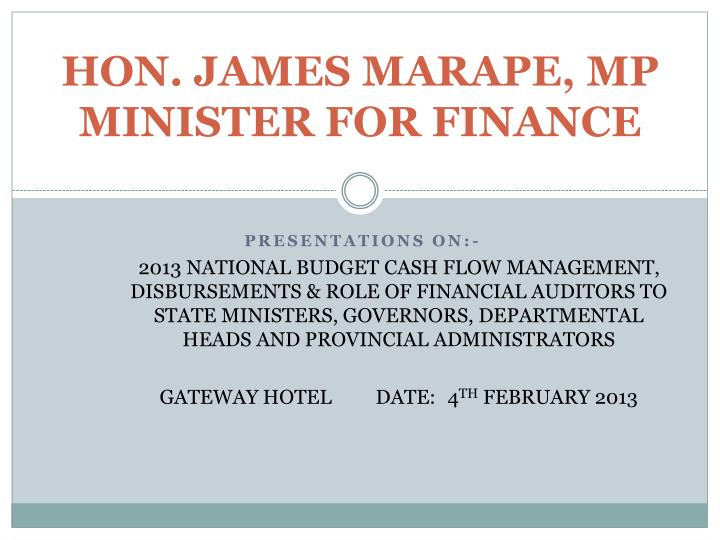 Hon james marape mp minister for finance