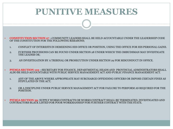 PUNITIVE MEASURES