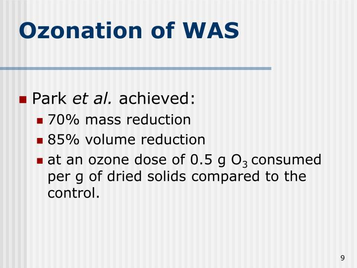 Ozonation of WAS