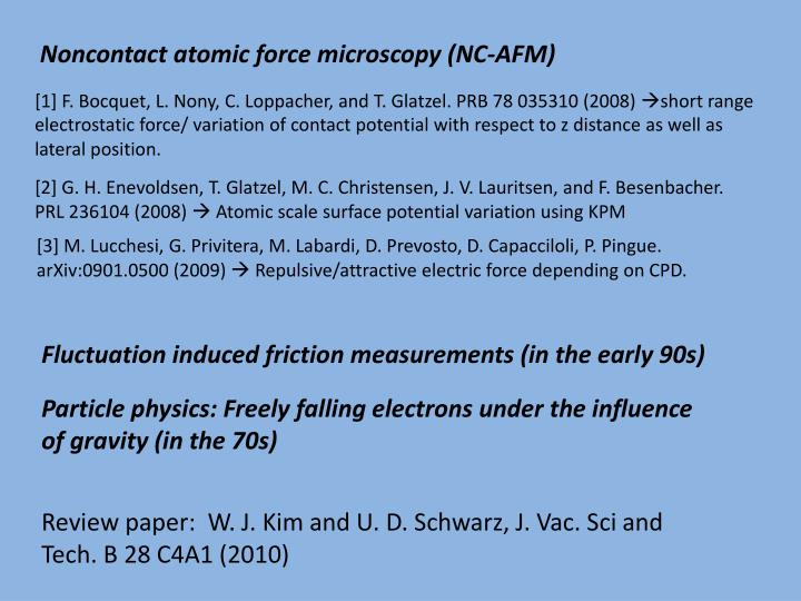 Noncontact atomic force microscopy (NC-AFM)