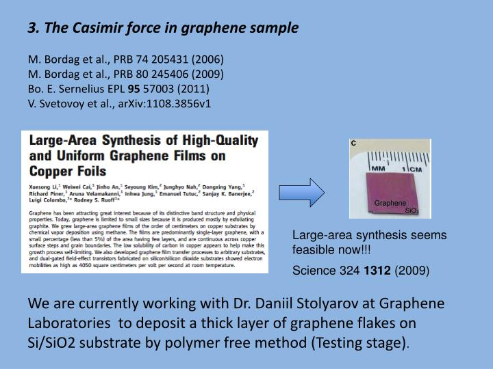 3. The Casimir force in graphene sample