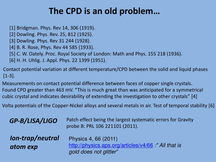 The CPD is an old problem…