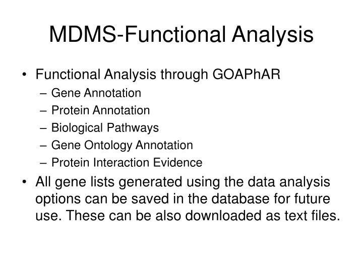 MDMS-Functional Analysis