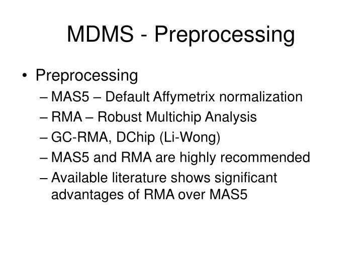 MDMS - Preprocessing