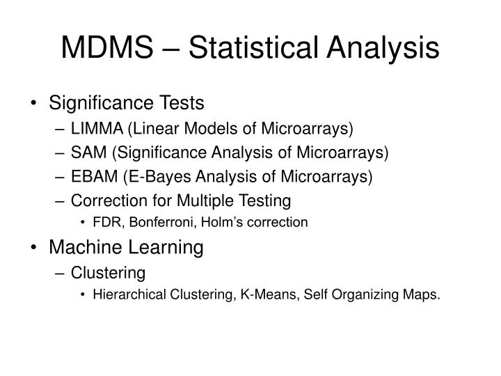 MDMS – Statistical Analysis