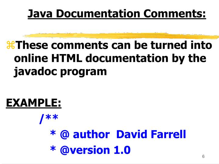 Java Documentation Comments: