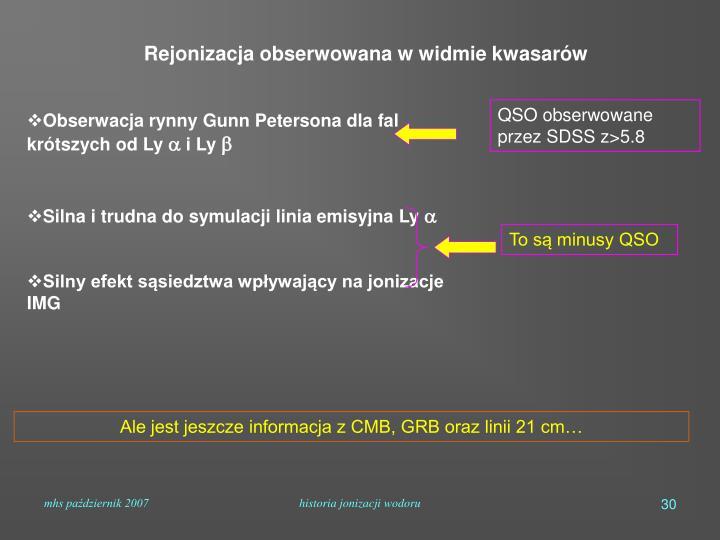 Rejonizacja obserwowana w widmie kwasarów