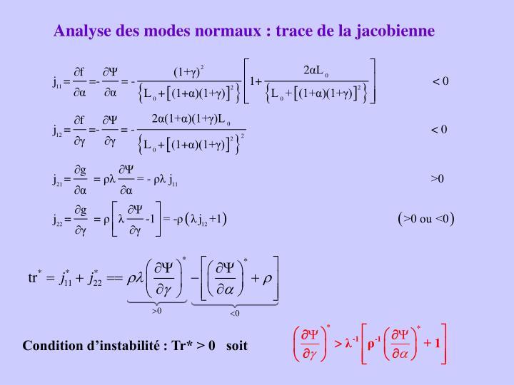 Analyse des modes normaux : trace de la jacobienne