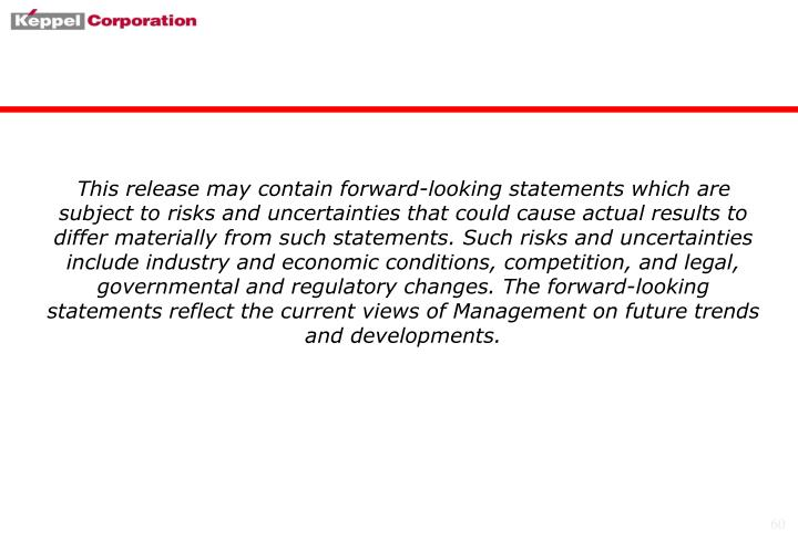 This release may contain forward-looking statements which are subject to risks and uncertainties that could cause actual results to differ materially from such statements. Such risks and uncertainties include industry and economic conditions, competition, and legal, governmental and regulatory changes. The forward-looking statements reflect the current views of Management on future trends and developments.