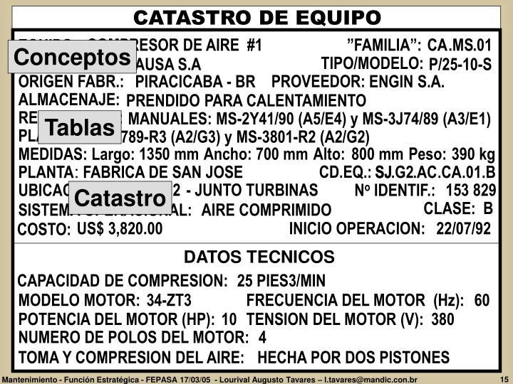 CATASTRO DE EQUIPO