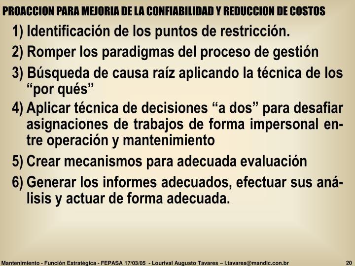 PROACCION PARA MEJORIA DE LA CONFIABILIDAD Y REDUCCION DE COSTOS