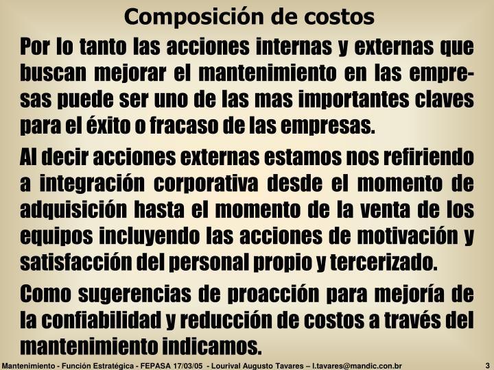 Composición de costos