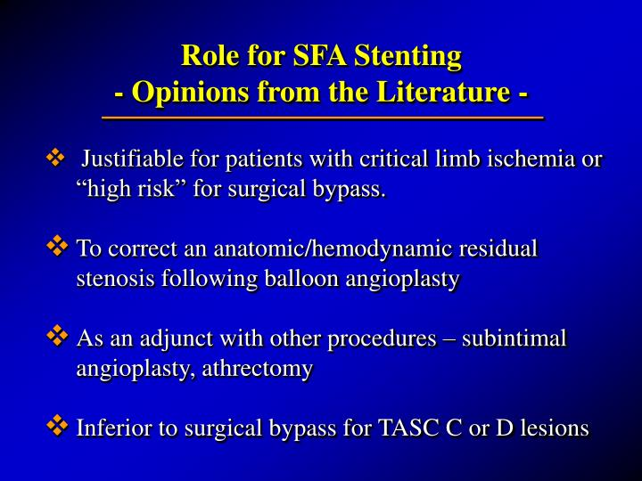 Role for SFA Stenting