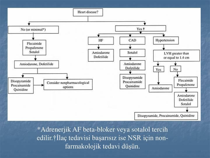 *Adrenerjik AF beta-bloker veya sotalol tercih edilir.†İlaç tedavisi başarısız ise NSR için non-farmakolojik tedavi düşün.