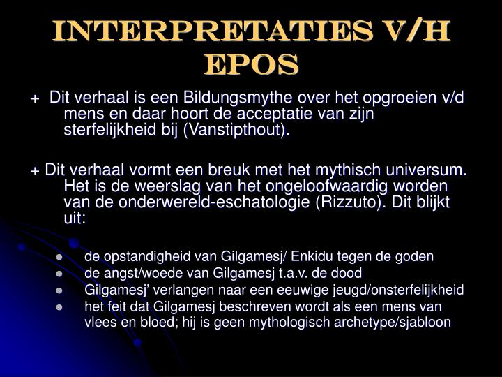 Interpretaties V/H epos