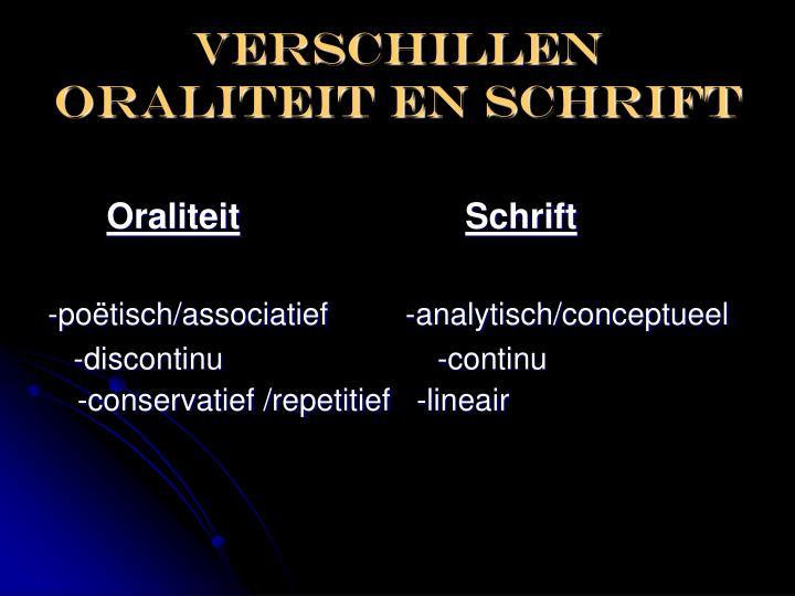 Verschillen oraliteit en schrift