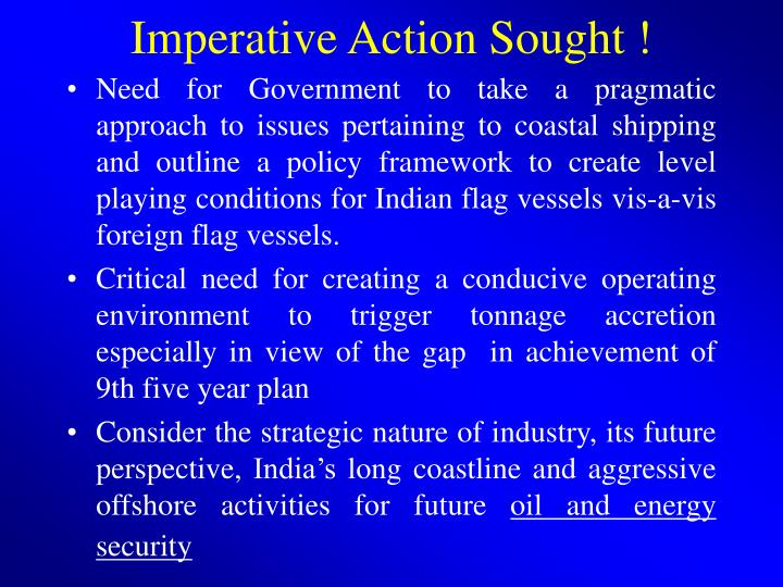 Imperative Action Sought !
