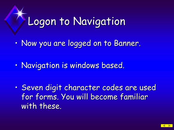 Logon to Navigation
