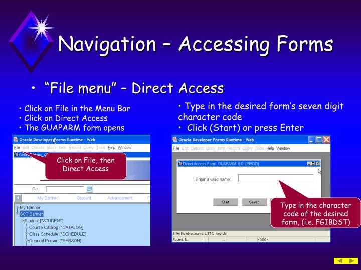 Navigation – Accessing Forms