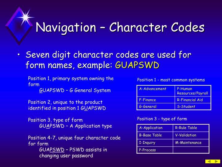 Navigation – Character Codes