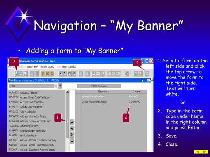 "Navigation – ""My Banner"""